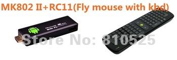 Rikomagic MK802 II Mini Android 4.0 PC Android TV Box A10 Cortex A8 1GB RAM 4G ROM HDMI TF Card + MK220 Fly air mouse