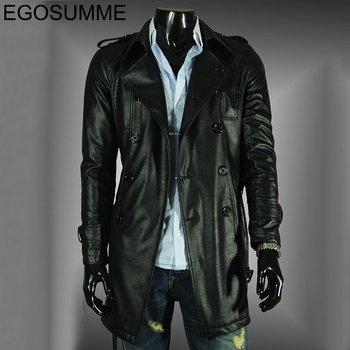 2012 men of high quality washed leather windbreaker epaulets large lapel double-breasted long leather jacket coat FLM021