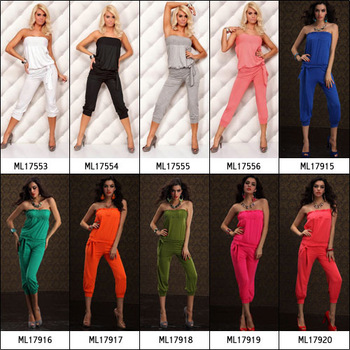 ML17554 Free Shipping 2014 New Style Ladies Sexy Jumpsuits  Women's Romper Overall Harem Pants Jumpsuit Black 11 Colors