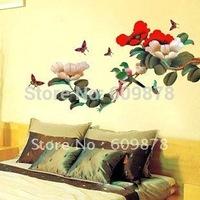 популярные древние лампа кошки и птицы стены стикер росписи красивый черный ПВХ дома номер арт декор стен + подарок