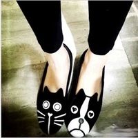 2014 new fashion Lovers flats personality Cats and dogs Sneakers Single shoes velvet flats cat and dog shoes loafers,ningmeng