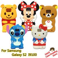 Mickey Minnie Bowknot Cute Kitty Stitch Bear High Quality Cartoon soft Cover Case For SamSung I9100 GALAXY SII S2