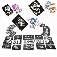 50 Mixed Design Sheets Stencil for Body Painting Glitter Temporay Tattoo Kit- Free shipping