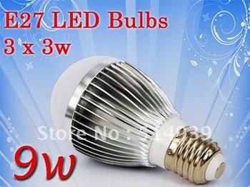 10 piece/lot High Power CREE E27 85-265V 9W (3 x 3w) Energy Saving Globe light LED Light Led Bulb Lamp Led Bulbs free shiipping