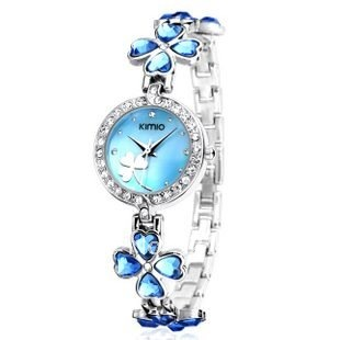 Wholesale & Retail Kimio Luxury crystal lucky clover women's fashion watches ,Quartz watches,free shipping!(China (Mainland))