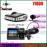 "2.0"" Dashboard Camera HD720P With G-SENSOR  Dual Lens DVR With Rear Camera IR Night Vision Singapost Free shipping"
