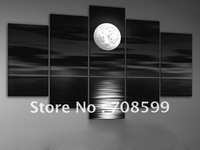 hand-painted oil wall art Sea full moon night home decoration abstract Landscape oil painting on canvas 5pcs/set mixorde