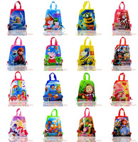 Free DHL,New Arrival 100pcs Cartoon Non-woven fabric Drawstring Backpack,School bag/Hand/Nursery bag,Kids best gift,Party Favor