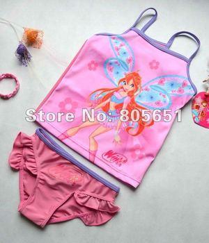 Retail-Freeshipping-Girls Fairy Winx Club Swimwear Tankini Beachwear Tankini  Bikini Swimsuit Tutu Dress 3-10Y Bathing 2Pcs Set