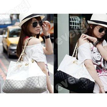 2014 Lady's Fashion black and white Patch-UP Color Shoulder Bag Designer Satchel  Messenger Bags