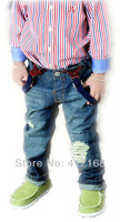 Brand  2014 New Children's clothing boys girls bib pants hole  overalls denim  jeans casual pants FreeShipping 01