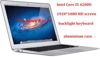 "13.3"" Intel Core I5 4Gen 1920*1080 HD screen aluminium ultrabook laptop computer backlight keyboard 8000mAh battery USB 3.0"