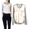 2013 women blouse casual Knitwear splicing clothes big pocket Ladies' Cotton Shirt Free Shipping Vintage tops knitted sweater