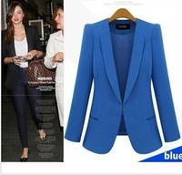 2013 spring  Fashion women blazer turn-down collar slim handsome suit jacket geometry Thick  XS---4XL Plus size  free shipping