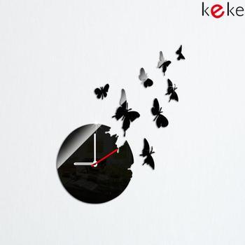 FREE SHIPPING 8 PCS BUTTERRLIES 3D wall clock Home decoration DIY  mirror wall clocks black wall art watch HOT SALE