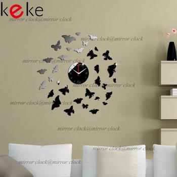 Hot Sale 2014 most popular DIY wall clock Home decoration crystal mirror clocks wall art watch FREE SHIPPING