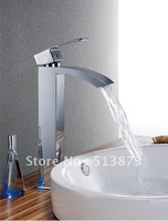 Freeshipping brass basin faucet, glass waterfall bathroom mixer tap, shower faucet, bathroom faucet