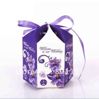 fREE SHIPPING Wedding hexagon candy box come with purple ribbon gift box  Party Birthday Engagement Valentine New Year favors
