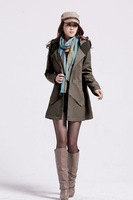 2013 Free Shipping new dust coat  Korean  women  coat plus size medium-long style  Single breasted  Dust coat