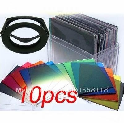 Фильтр для фотокамеры for Cokin P 67mm ring Adapter + 10pcs square color filter + Filter box + filter holder+ +tracking number
