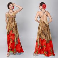 HE09651  Cross Back V-neck Rhinestones Printed Chiffon Evening Dress