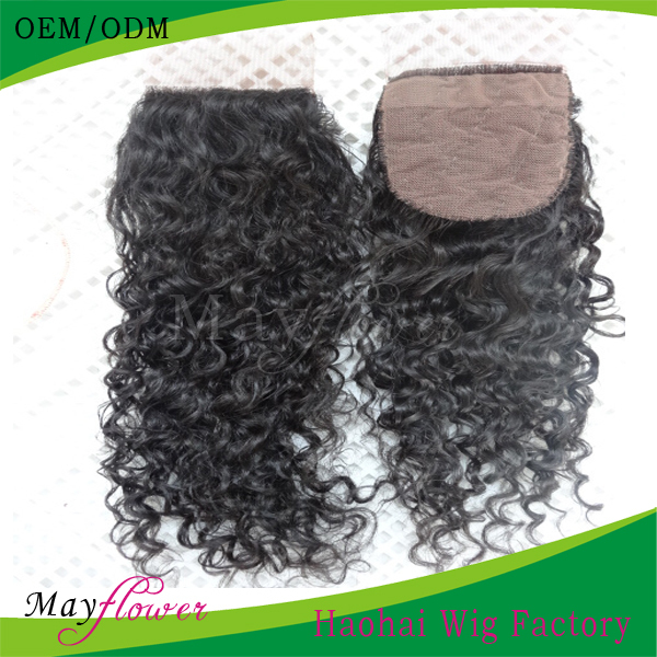 hot sell fashion indian wave human hair 3.5x4 silk top lace closure piece(China (Mainland))