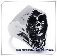 Men's Hot sale Grim Reaper Skull Biker Stainless Steel Ring Size 8#, 9#, 10#, 11#, 12#, 13#,Free shipping,R#12
