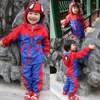 Free shipping red spider-man children's suits 2014 spring autumn spiderman sports suit jacket pants kids cartoon clothing set