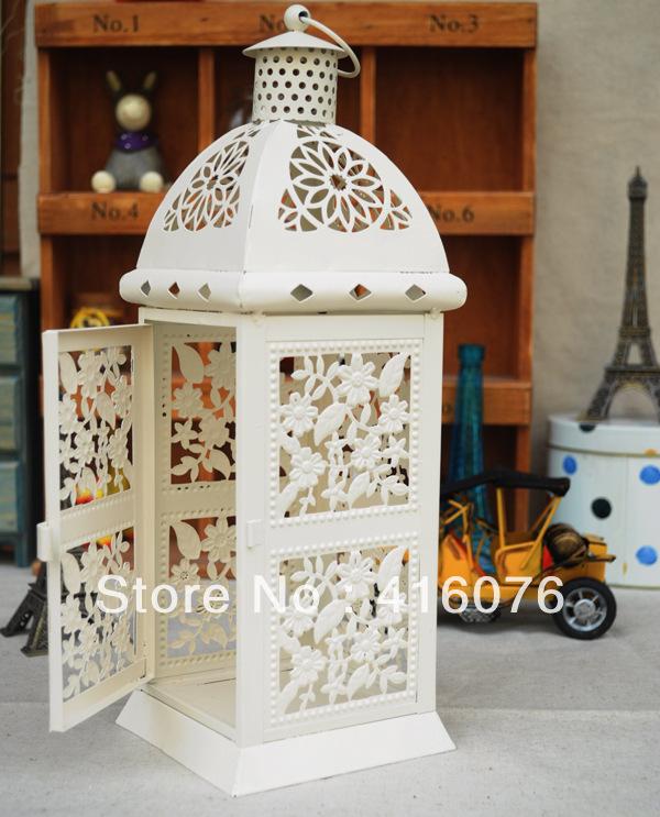European Vintage Style Wedding Lantern Metal Candle Holder 2 colors White or Black Home Decoration Hot Selling C1016(China (Mainland))