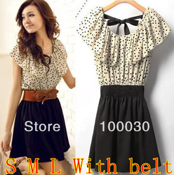 Women Lady Sexy & Club New Fashion 2013 Dots Polka Empire Cute Mini Chiffon Dress Plaid Print + With Belt(Hong Kong)