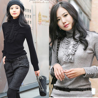 7 Colors Plus Size Women Sweaters Korean Elegant Long Sleeve Turtleneck Lace Pullovers Casual Sweaters  FWO10098