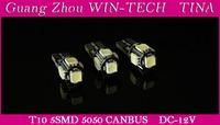 Free Shipping 10pcs/lot T10 5 LED Canbus W5W 194 5050 SMD Error Free White Light Bulbs t10 canbus led car interior light TINA