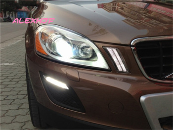 LED daytime running lights DRL with fog lamp cover, LED fog lamp case for VOLVO XC60 2009~2013 1:1 replacement, fast shipping