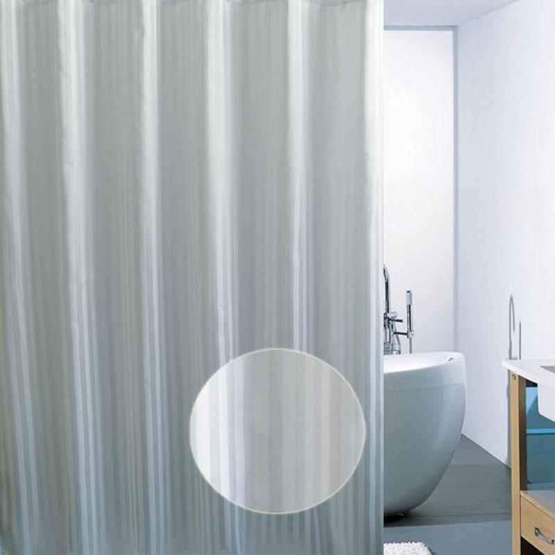 Cortinas De Baño Tela Blanca:blanca Jacquard Tejido de poliéster cortina de ducha / baño cortina