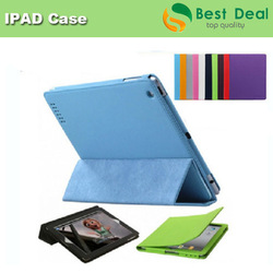 Wholesale High Quality Full Body Smart Cover Slim Magnetic PU Leather Stand Case Cover for New iPad 2/ 3/4 (10 Colors Option)(China (Mainland))