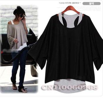 Plus Size Fashion T Shirt For Women Clothing Batwing Dolman Short Sleeve Loose Tops Vest T-Shirt Black Gray Free Shipping 0069