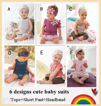 Baby clothing/Cute baby suit/Tops+Short Pants+Headband/Baby wear/Hot selling 6 designs