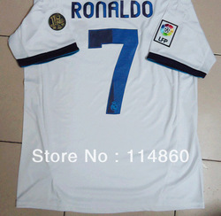 Free Shipping best Thai thailand quality 2012 2013 Real Madrid home white soccer jersey 7 ronaldo football shirt(China (Mainland))