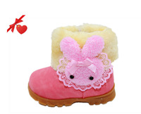 2014 Promotion! Retail winter warm Thick kids shoe Baby snow boots baby girls and boys lovely rabbit cotton shoes 1pair