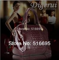 2014 new design fashion style brands crocodile grain real leather,ms embossed leather messenger bag,  DGR brand handbag 7 color