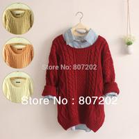 new 2014 Fashion warm winter pullover women sweater women Vintage Knitwear Long sleeve o-neck wool oversized knitted sweaters