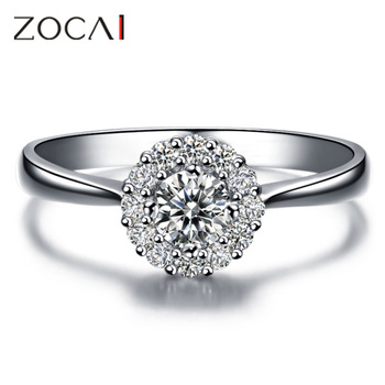 ZOCAI BEAUTIFUL LIFE NATURAL 0.4 CT CERTIFIED I-J / SI DIAMOND ENGAGEMENT RING ROUND CUT 18K WHITE GOLD  W00237
