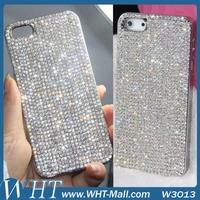 1 Piece Free Shipping For iPhone 5S 5G Luxury Diamond Rhinestone Cover Top Quality Diamond Bling Chrome Hard Case.DIY Case