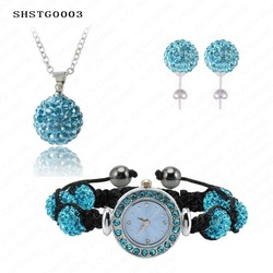 New Arrival Shamballa Set With Disco Balls Shamballa Bracelet Watch/Earring/Necklace Pendant Set SHSTG3 Mix Colours Options(China (Mainland))