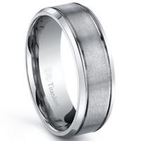 7MM Men's Titanium ring, Comfort Fit wedding band Fashion Jewelry US Size 6.5-12 &Half Sizes Free Shipping Ti004RM