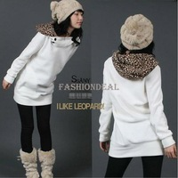 2014 Women's Hoodies Coats Autumn Sweatshirts Leopard Top Outerwear Parka Cotton White/ Black Four Size free shipping 3283