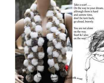 Losing money price Genuine Women's Fur Scarves 100% Fur Ball velvet Rabbit Long style Woman Winter 2012 white Scarves