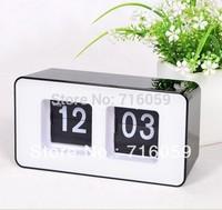 Auto Flip Clock Retro File Down Page Clocks Classic Modern Desk Table Clock black color