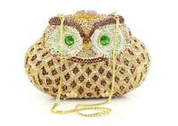 2014 unique owl animal shape diamond multicolored crystal rhinestones clutch purse bridge maid evening bag wedding gift G20458