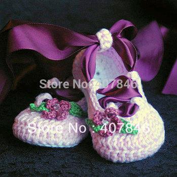Del ganchillo del bebé de ballet de la cinta flor hoja rhinestone primeros zapatos del caminante 14 par/lote diseño mezcla personalizada